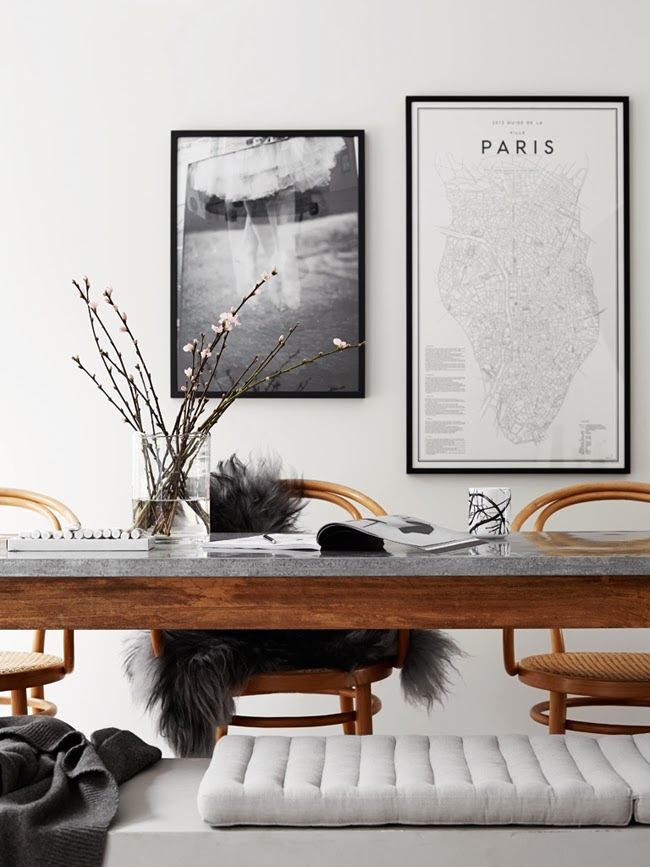Charcoal sheepskin thrown over a classic Thonet chair - via Coco Lapine