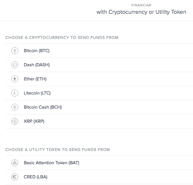 Pantalla de selección de criptomoneda o token para depositar en tarjeta XAU de Uphold