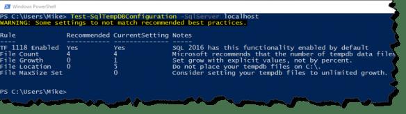 Test-DbaTempDbConfiguration