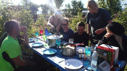 On a good weather dinner was served outside. I've gained several kilos this summer - and it has been glorious! (Photo: Metsähallitus / Essi Keskinen)