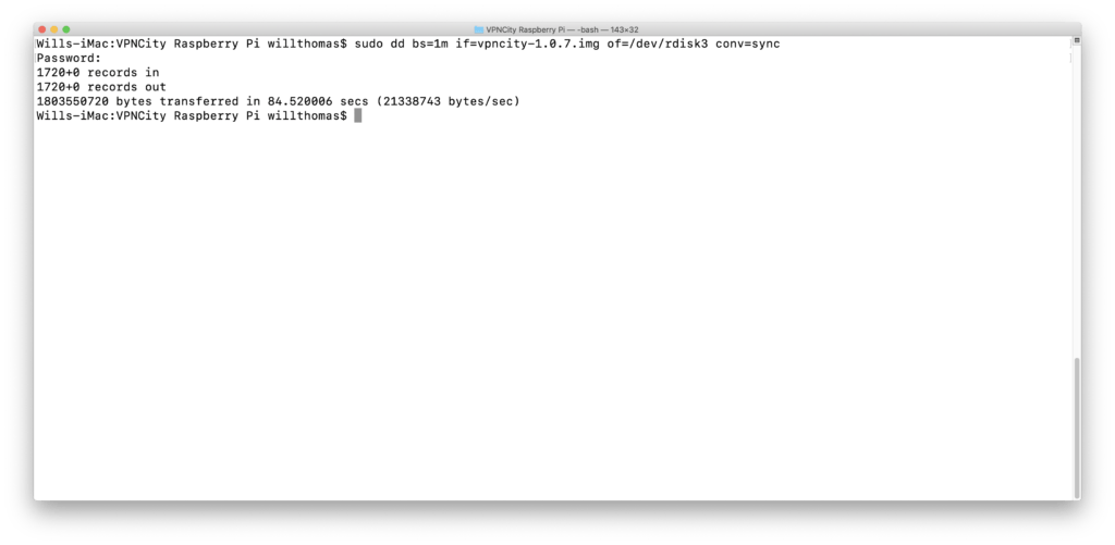 Installing Raspberry Pi as a VPN Router on MacOS (manual