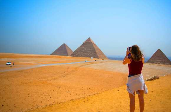 Capturing a photo of the iconic Pyramids