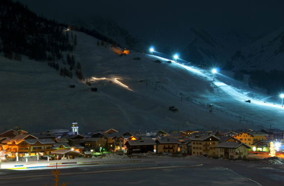 Ski village at night, Livigno Italian Alps