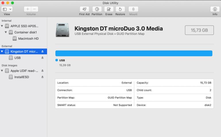 Disková utilita macOS s přehledem interních a extérních disků