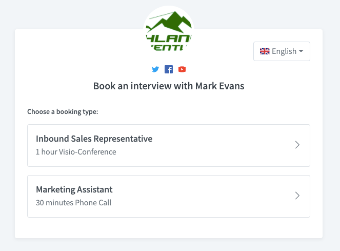 Create and share meeting types on your booking page with Vyte