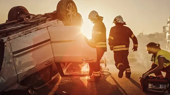 Car accident with rescue teams