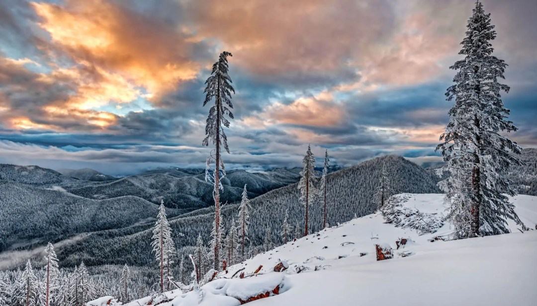 Sunset over the snowy Cascade Mountains