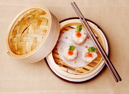 Shrimp Dumpling in bamboo plate:
