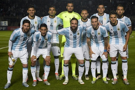 The Argentina National football team posing for a photograph