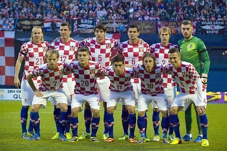 Croatia National football team posing for a photograph
