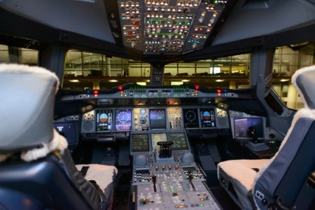 Pilots' cabin aboard Emirates A380