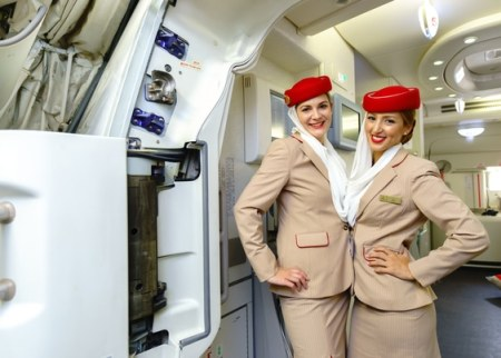 2 Smiling flight attendants - Emirates A380