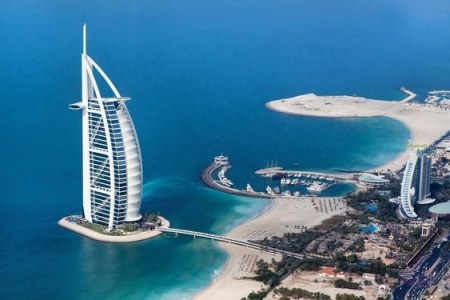Aerial view of Burj Al Arab with the sea