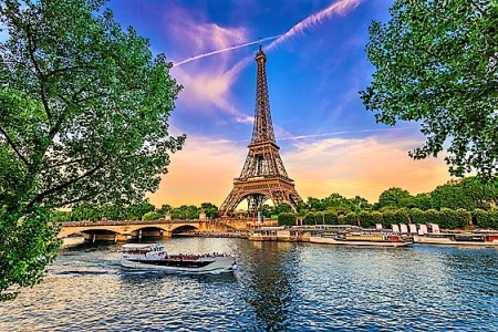 Paris Eiffel Tower and river Seine at sunset in Paris, France