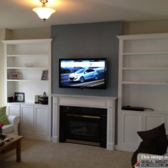 Living Room Design Ideas Tv Over Fireplace Small Decor Wall Mount Installation With Wire Concealment ...