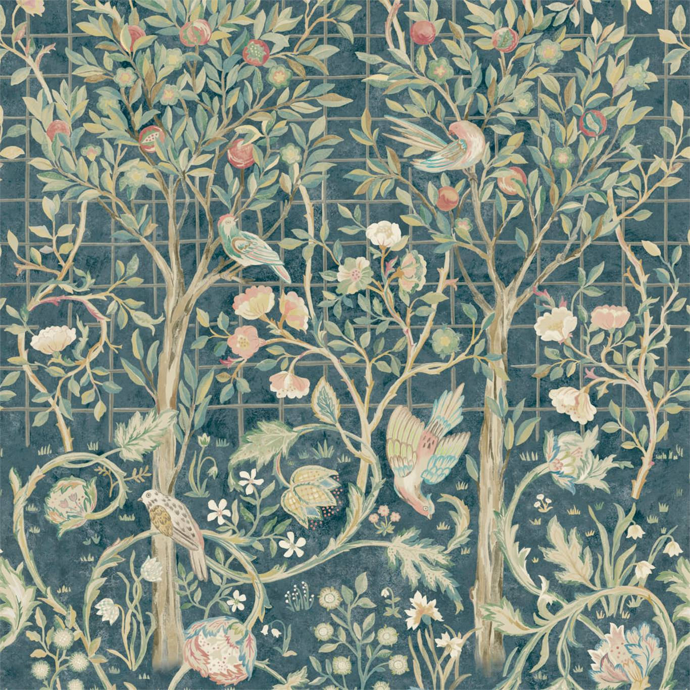 Inspired by embroidered bed hangings originally created by May Morris for her fathers bed c.1893 this newly drawn wallpaper version showcases Mays spectacular design of birds and flowerheads trailing a central fruit tree. Produced as a 3m panel (or 4m on special order) Melsetter from Morris & Co. is a hand painted fresco style design with a garden room feel. Available in two colourways: Indigo/Rose and Ivory/Sage