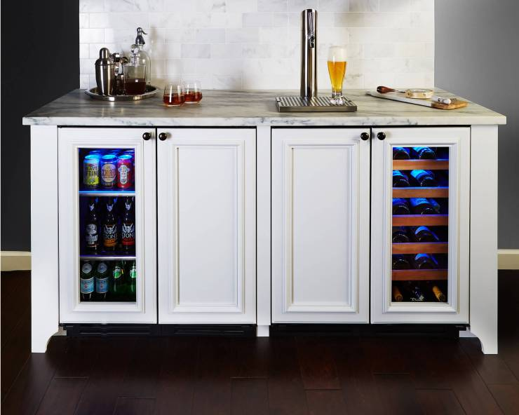 built-in beer tap on home bar