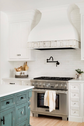 kitchen with green island