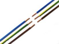 Blå, brun og gul/grøn ledning til f.eks. lampested