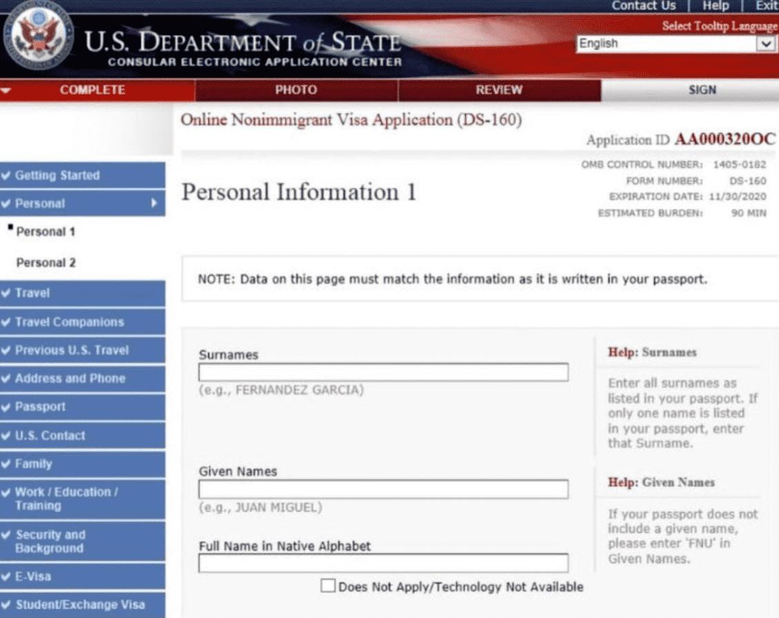 us-visa-application-form-ds-160-sample