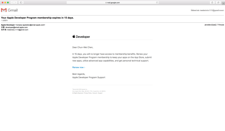 Renew Apple Developer membership - Mail