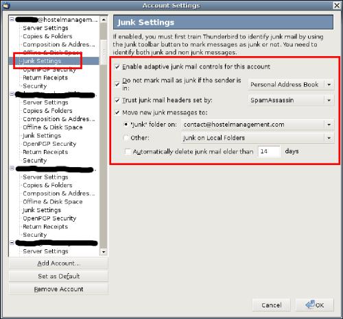Thunderbird-junk-settings