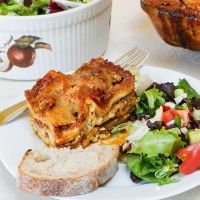 Three Cheese Lasagna with Meat Sauce #SundaySupper #FamilyDinnerTable
