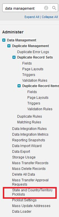 Salesforce StateCountryPicklist