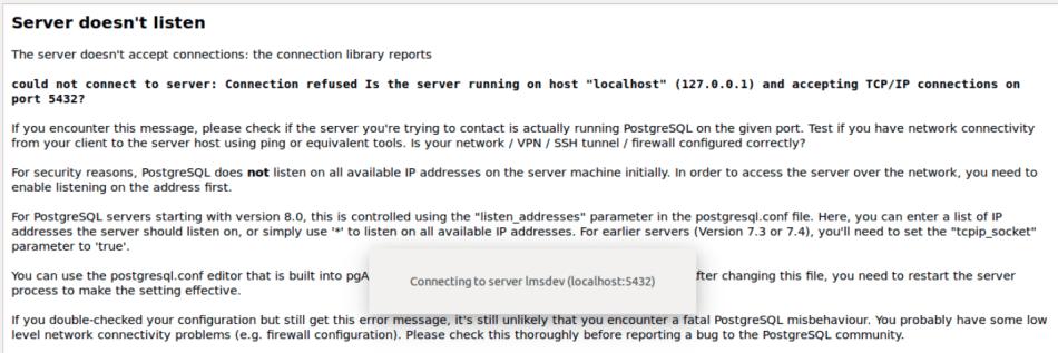 PostgreSQL - Server doesn't listen error