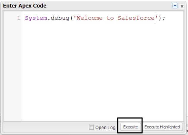 Developer Console apex