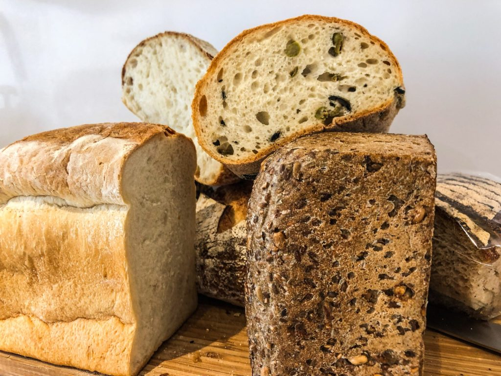 Different kinds of bread for a sandwich