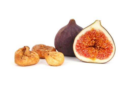 Dried figs next to whole figs