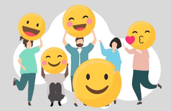 people with happy emoji
