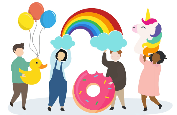 people-holding-rainbow-unicorn-and-balloons