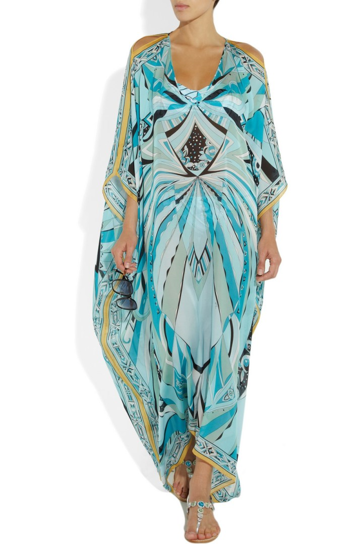 Emilio Pucci Chicago Panello Printed Silk Kaftan from Net-a-Porter