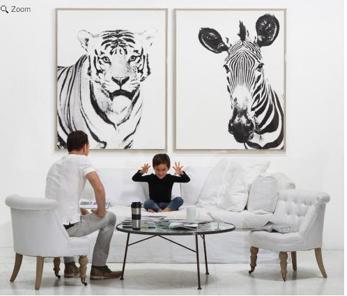 Zebra Wall Art exotic tiger and zebra wall art | the well appointed house blog