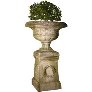 Weaved Classical Garden Urn with Pedestal