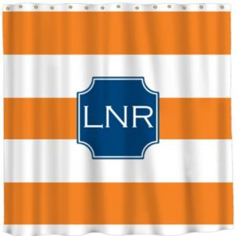 orange stripe monogrammed shower curtain