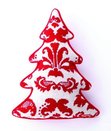 red-white-toile-christmas-tree-shaped-needlepoint-pillow