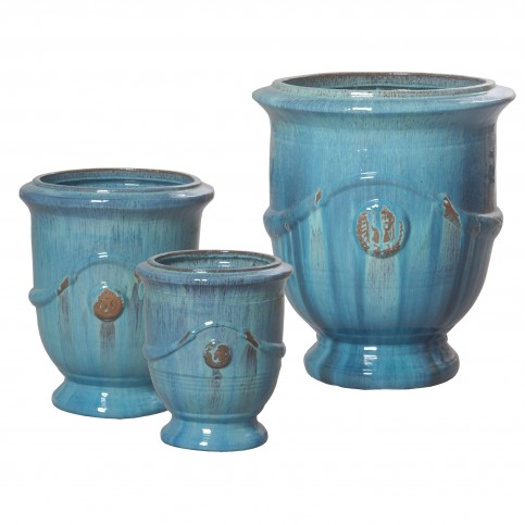 Set of Three Anduze Garden Pots in Turquoise - $1018 for set or contact us to order individual pots - click image to buy