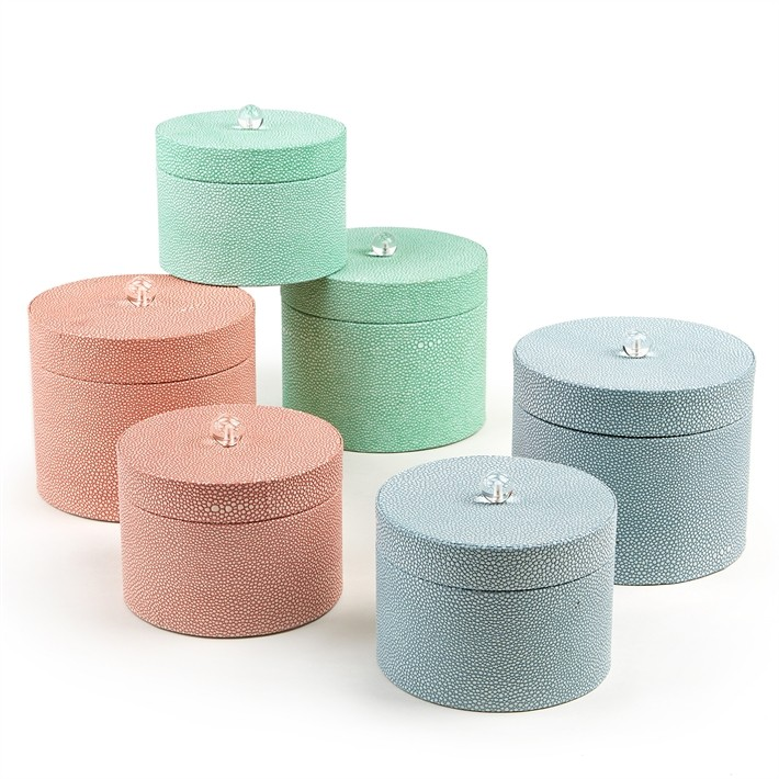set_of_two_faux_shagreen_round_covered_boxes