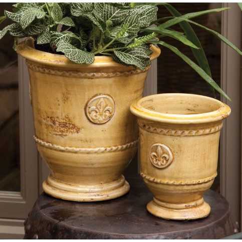 Set Of Two Footed Urns In Honey Color   $145