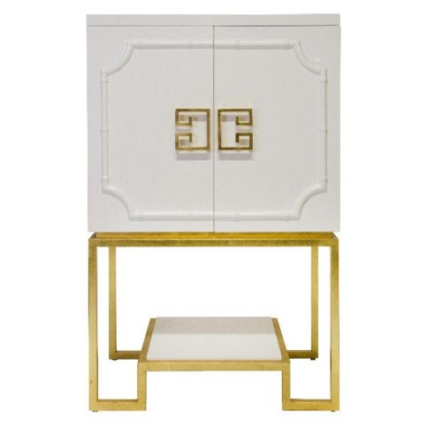 white lacquer bar cabinet with gold leaf base