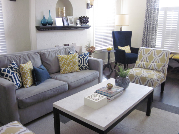 Blue & Yellow Décor Ideas For Living Room : Front + Main
