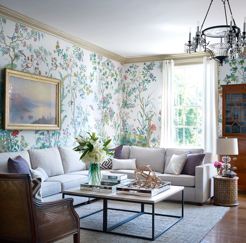 west elm living rooms room ideas with gray sofa for spring floral wallpaper 5