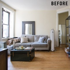 West Elm Living Rooms Cream Room Curtains Small Mid Century Before After Justin S Revamped Nyc