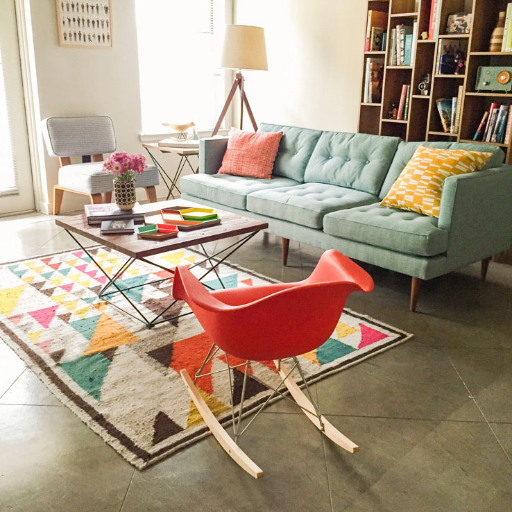 west elm living rooms wall clock room a colorful mid century style in austin front main andrea nunez mywestelm