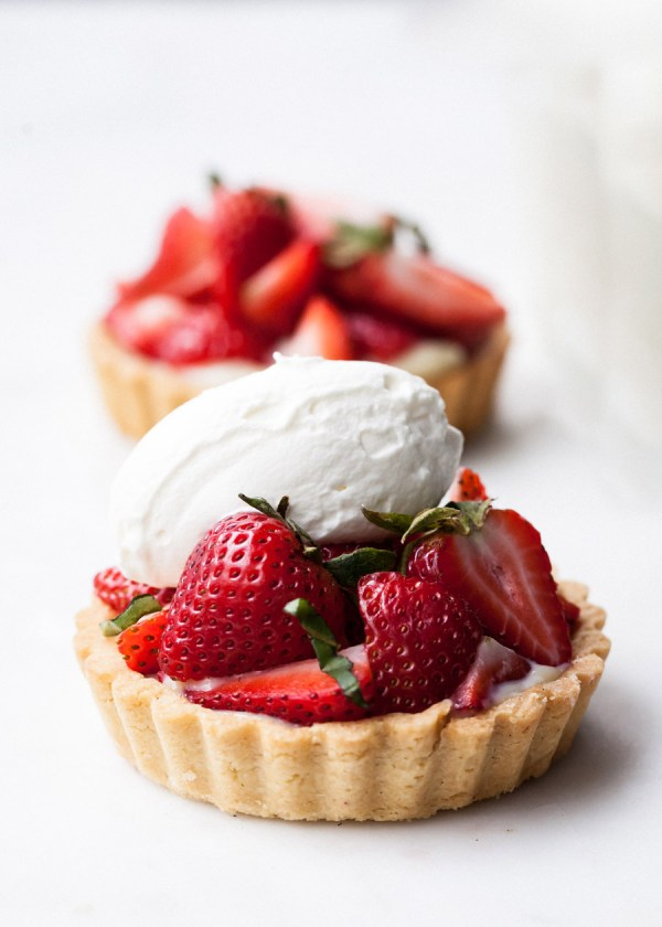 Strawberry Tartlets With Basil Cream - Front Main