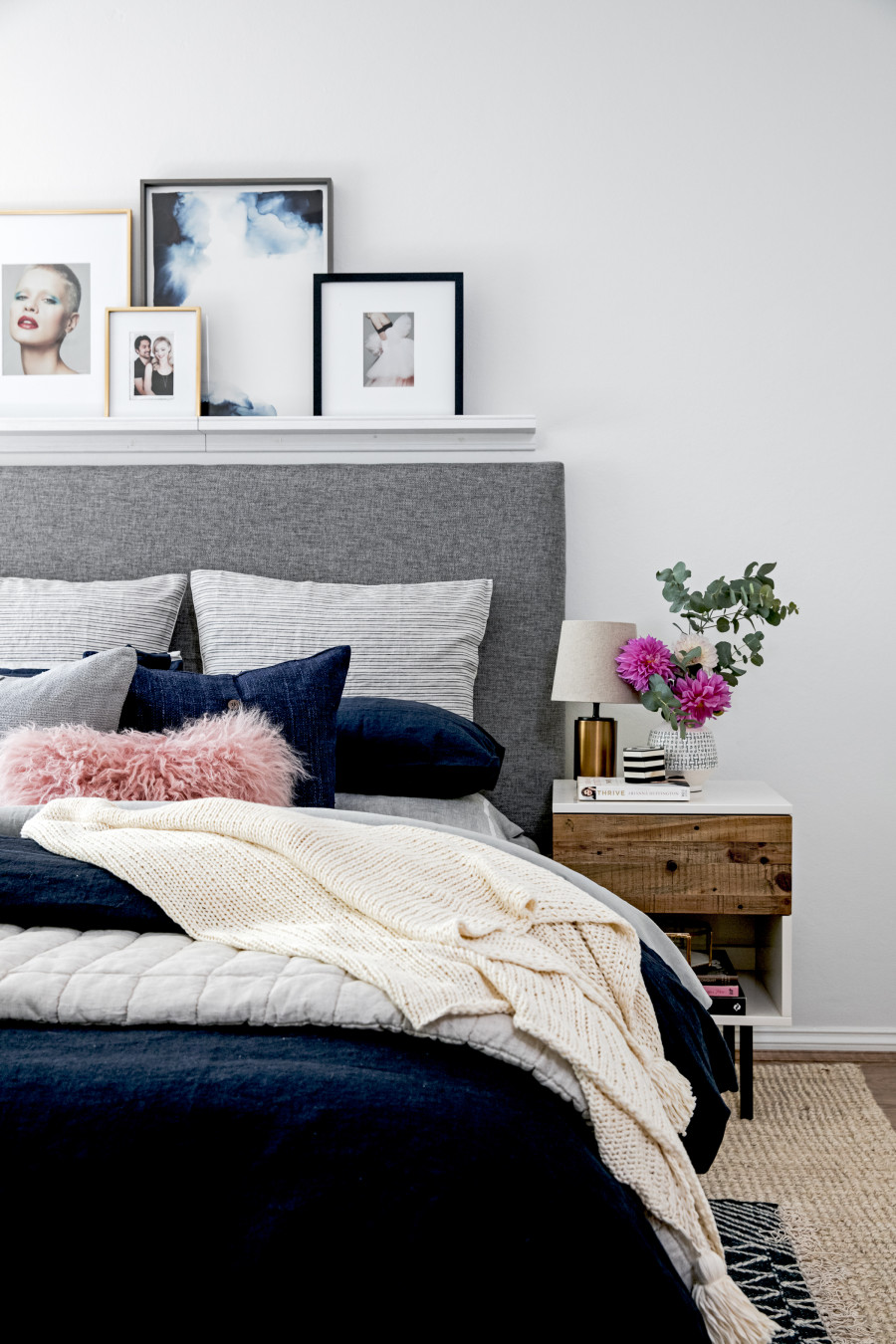 Navy Blue And Pink Master Bedroom Decor