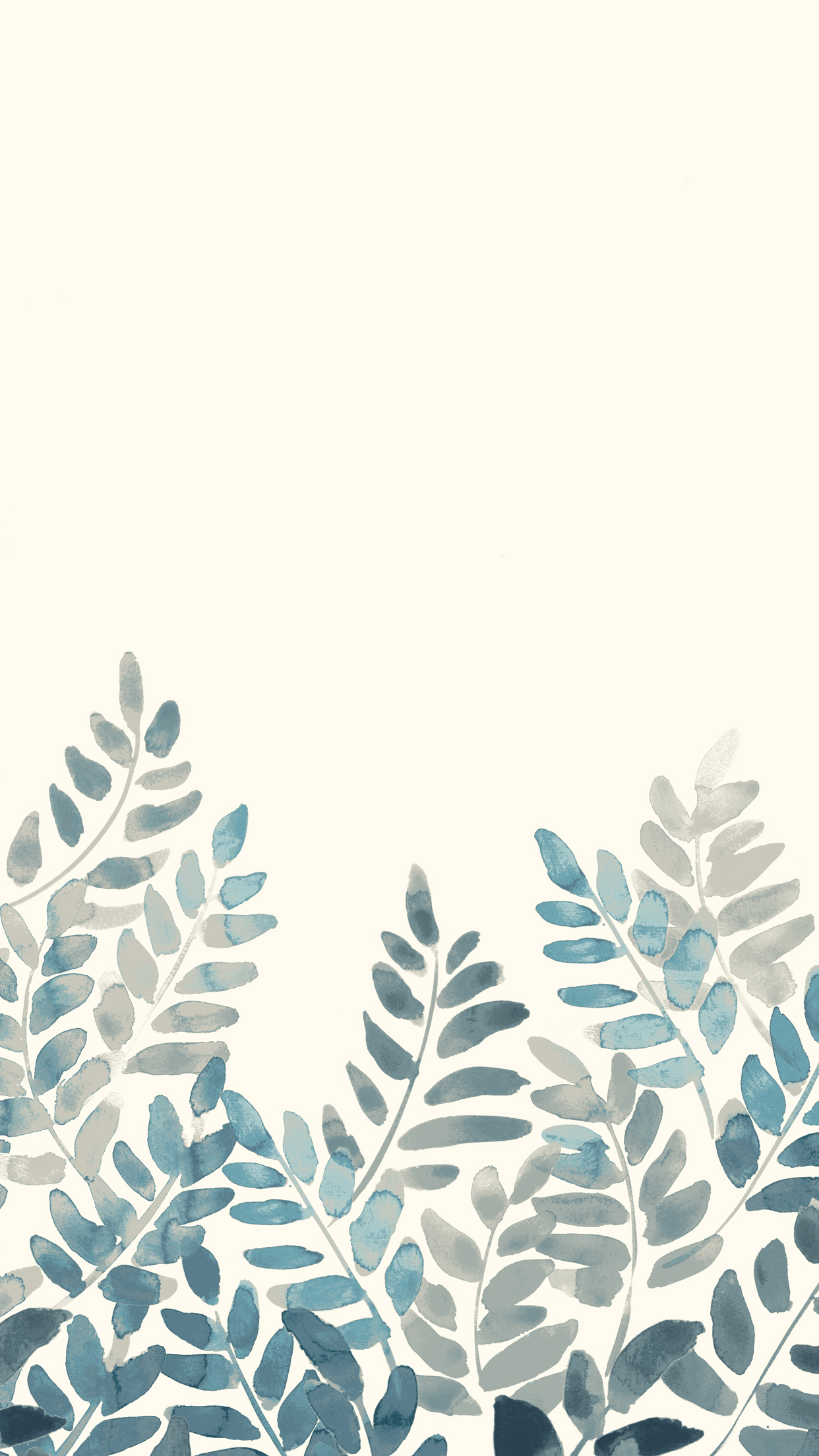 Free Watercolor Fern Mobile Wallpaper Front Main